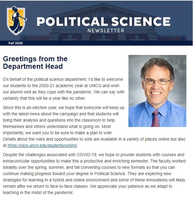 Political Science newsletter screenshot
